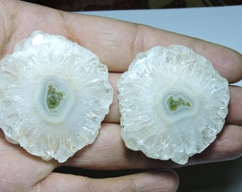 2 Pieces Matched Pair Very Beautiful Natural White Solar Quartz Druzy Round Size 51X50 MM