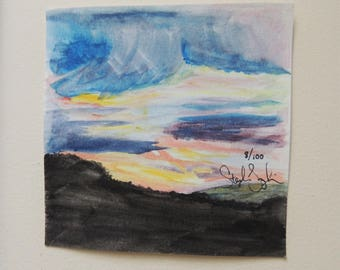 Watercolor Sunset 5x5 Painting