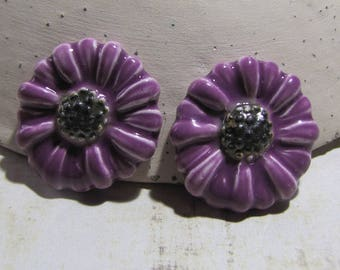 Ceramic cabochons, mini flower marguerite-Marie embellishment, scrapbooking, collage purple lilac