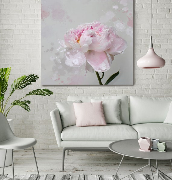 """Romantic Grey Pink Peony Splash 1. Flower Photography, Peonies, Pink, Pink Floral Fine Art Photograph, Still Life, Large Wall Art up to 50"""""""