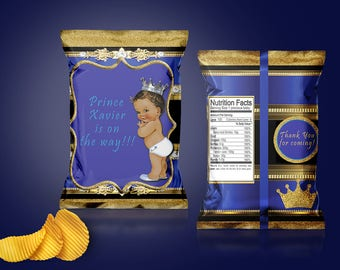 Royal Blue and Gold Prince Baby Shower Chip Bag