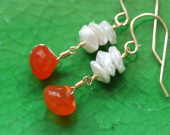 Keshi Keishi Pearls Carnelian Stacked Earrings, 14k Gold Filled, June Birthstone, Creamy White Orange, Wire Wrapped - Emily