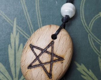 Beech Wood Pentagram Pendant - on cord - for Knowledge- Pagan, Wicca, Witchcraft, Pentacle Wooden Pebble