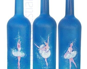 Hand painted vodka bottle with ballet classical dancers
