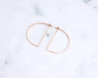 Rose Gold Hoops, Large Half Moon , Modern Minimalist Half Circle Hoop Earrings, Hammered Wire Earrings in Pink Gold, Geometric Earrings