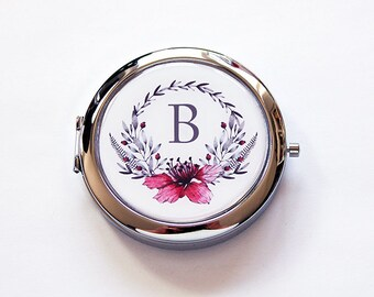 Pill box with mirror, Monogram pill case with mirror, Floral wreath with monogram, Bridesmaid gift, custom, Gift for her, pink, grey (5988)