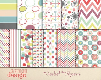 Digital paper, Digital Scrapbook paper pack - Instant download - 12 Digital Papers - Sorbet