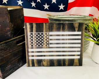 American Flag Wall Plaque in Espresso Wood Stain
