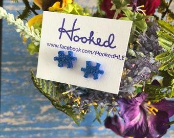 Blue Puzzle Piece Stud Earrings - Autism Awareness
