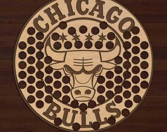 Chicago Bulls Beer Bottle Cap Holder USA Laser Engraved Boyfriend Basketball Gift for Him, Gift for Dad, Groomsmen gift, Christmas Gift
