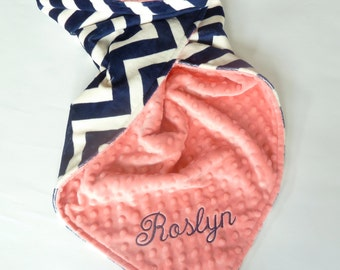 Personalized Baby Blanket -  Baby Girl or Boy blanket - Custom Made - You Choose Minky Color - Navy Chevron, Coral, Pink
