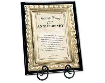 Mom & Dad Happy Anniversary Poetry Plaque Parents Congratulation Wedding Anniversary Present Plaque Best Wishes
