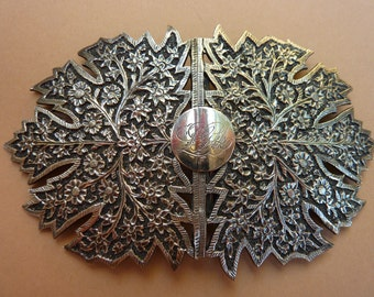 Large Antique Victorian Sterling Silver Filigree Floral Two Piece Belt Bucle