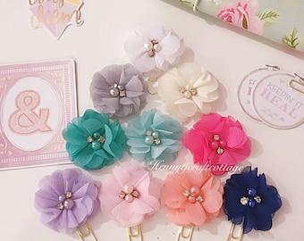 Planner Clip. Shimmery Flowers Rhinestone pearl Planner Clip. Erin Condren /Plum Paper Design / filofax