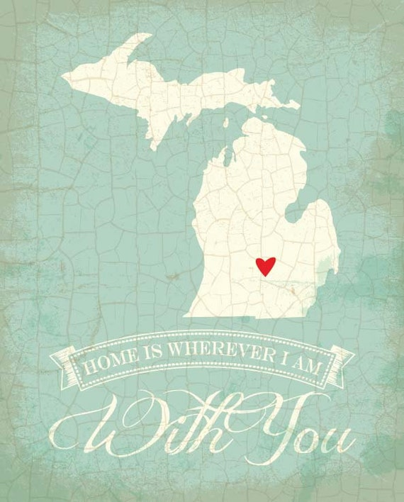 20 State Of The Art Modern Kitchen Designs: Items Similar To Michigan Map Art State Poster- 8 X 10