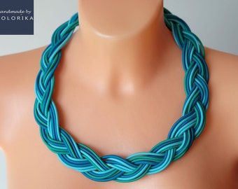 Turquoise braided necklace / Statement necklace / Bold necklace / Bib necklace / Fashion necklace / Fabric necklace / Ropes necklace