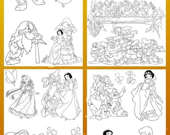 SnowWhite cool coloring books. Children's colouring books. Girls coloring. INSTANT DOWNLOAD
