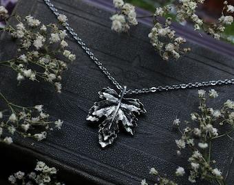 Silver Maple Leaf Necklace Stainless Steel or Black Velvet String