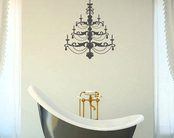 Stately home Chandelier silhouette with beads design living room, bedroom wall art sticker, decal, grand, antique