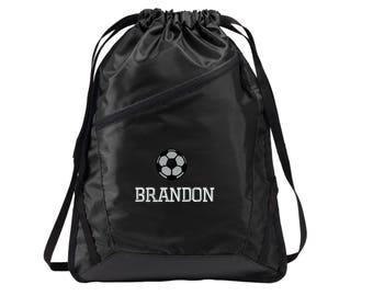 Soccer Player Drawstring Backpack Bag - Embroidered.  Personalized Soccer Drawstring Bag. Soccer Team Gifts. Soccer Team Bags. SM- BG616.