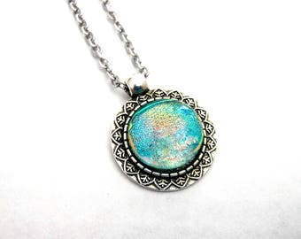 round turquoise Dichroic Glass pendant necklace, gold, pink, and a mix of bright colors with stainless steel chain