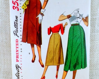 Vintage Pattern Simplicity 4414 Sewing pattern 1950s gored flared inverted pleat full skirt Waist 30