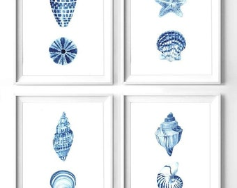 Printable set of 4 blue nautical prints, printable seashell watercolor painting, blue wall art, starfish print, set of 4 seashell prints