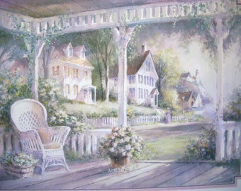 Vintage Porch Print, Cottage ,Cabin, Farmhouse Front Porch, Home and Living, Home Decor, Wall Decor, Wicker Furniture, Summer, Colonial,