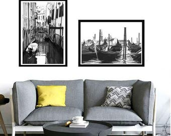 Venice Photography Set of 2 Venice Print Italy Art Italian Decor Europe Photo Large Wall Art Print, Venice Poster Printable Digital Download