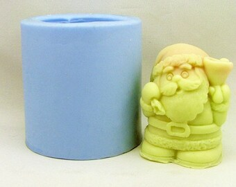 Christmas Santa 3D Flexible Silicone Mold Silicone Mould Candy Mold Chocolate Mold Soap Mold Polymer Clay Mold Resin Mold R0380