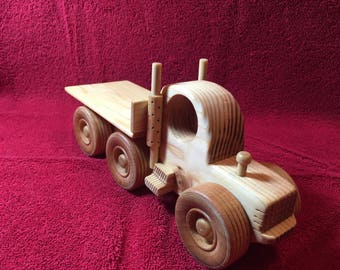 "Handcrafted 10"" wooden flatbed truck"