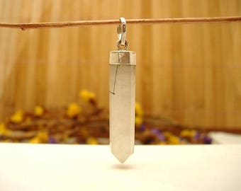 Sterling Silver and tourmalated Quartz.