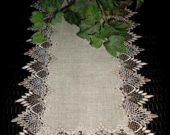 "54""  Table Runner Dresser Scarf Neutral Earth Tones European Lace"