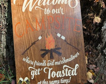 Welcome to our Campsite - Camping Sign
