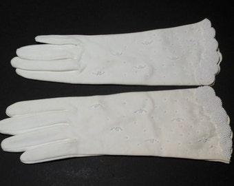 Vintage White Beaded Gloves, Size Small, Cotton Long Beaded Gloves