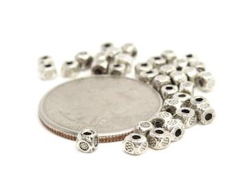 Tiny Square Cube Beads in Silver with Tiny Flower Design 4mm 10pc