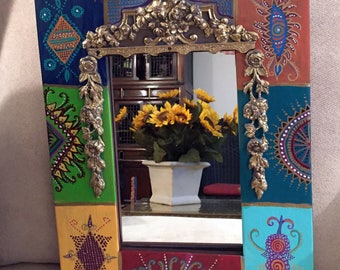 """Hand Painted Bohemian  Ready to Hang Gold Trimed Mirror 14""""Wx18""""Hx1""""D M0047"""