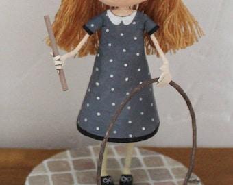 """""""Schoolgirl hoop"""" sculpture, OOAK doll"""