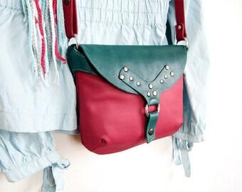 Women's leather crossbody bag Clutch bag with strap Red shoulder bag Rivet red handbag Long strap travel crossbody purseGift her girl