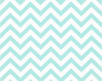 1/2 Yard Mint and White Chevron Fabric - Premier Prints Minte and White Zig Zag Chevron Fabric HALF YARD