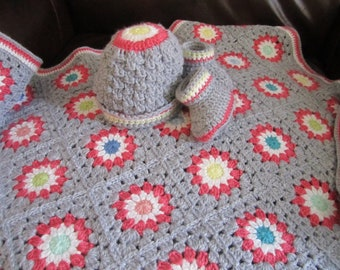 Handmade Crocheted Baby Blanket Bundle