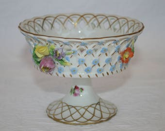 Dresden Carl Thieme Reticulated Compote with Applied Flowers