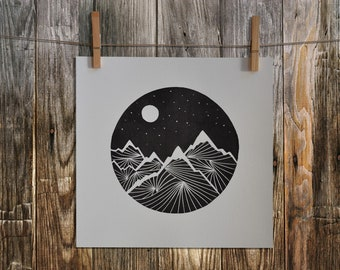 Linocut Print, Mountain Print, Home Decor, Block Print, Relief Print, Handmade, Lino Print, Graphic, Linoart, Linoart Prints