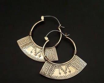Small Semiya Tribal Hoops ,Berber Brass Hoops , ethnic Earrings