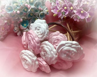 30 Toothpick or Skewer Shabby Chic Rose Pink White Wedding Dinner Cocktail Tea Hors d'oeuvre Appetizer Beach Birthday Party Candy Bar Shower