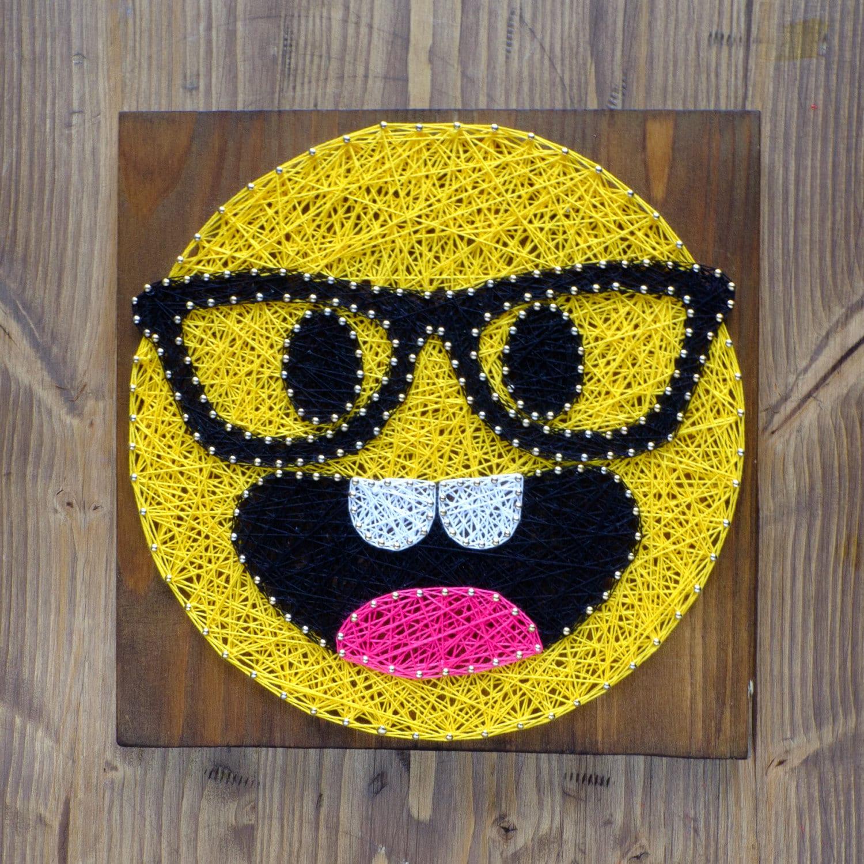modern emoji string art wall decor smarty pants yellow emoji
