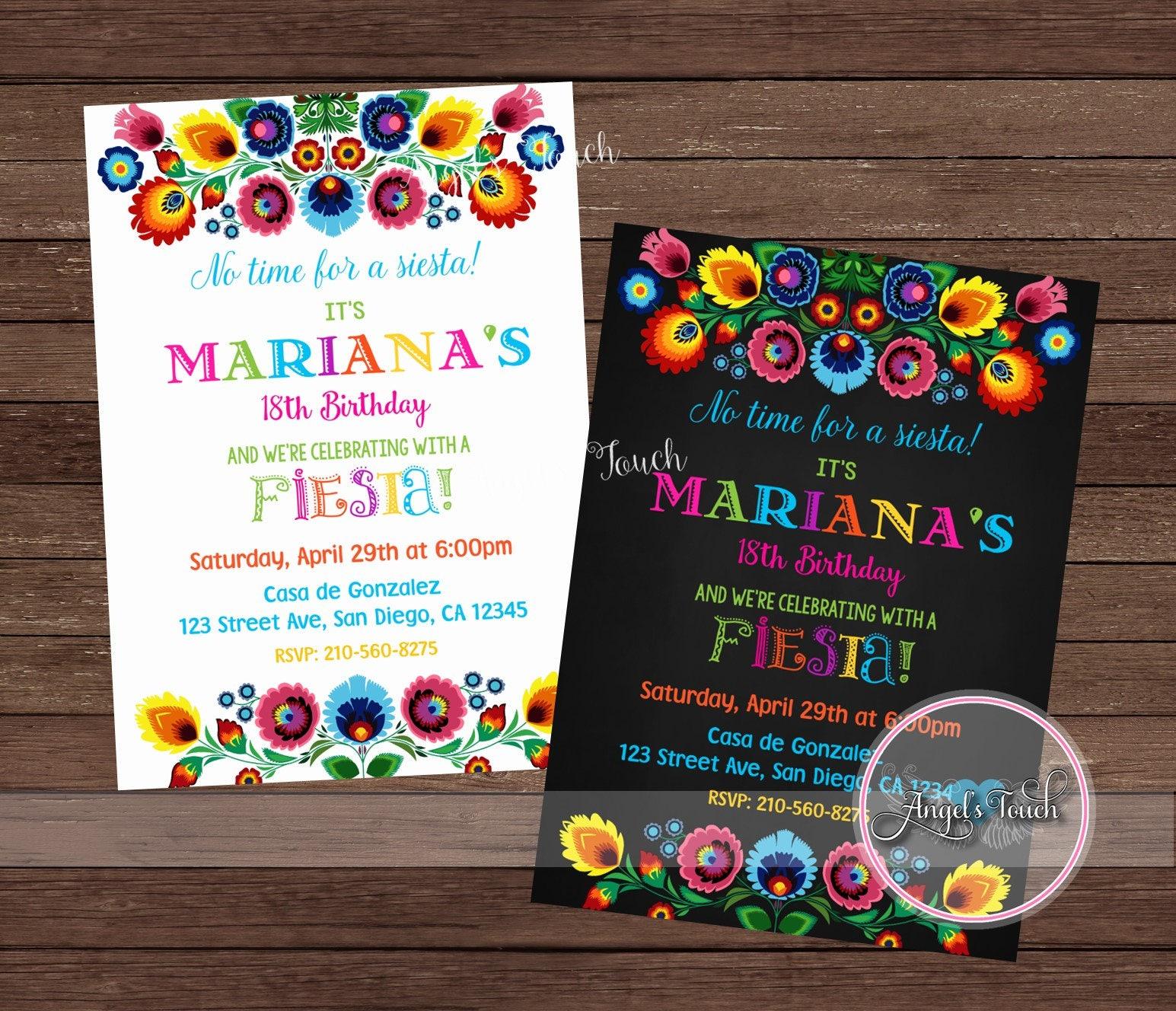 Fiesta Floral Invitation, Fiesta Birthday Party Invitation, Mexican ...