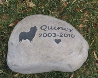 Personalized Dog Pet Memorial Stone Grave Headstone Pet Grave Marker Papillon Memorial Burial Stone Marker 8-9 Inch