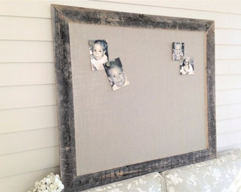 Huge Barnwood Frame MAGNETIC Bulletin Board Reclaimed Recycled Weathered Gray Rustic Barn 35x48 Handmade Frame Gray Burlap Fabric YOU CHOOSE