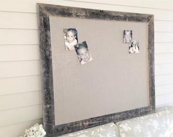 Huge Barnwood Frame MAGNETIC Bulletin Board Reclaimed Recycled Weathered Gray Rustic Barn 35x48 Handmade Frame Gray Burlap Fabric YOU CHOOSE